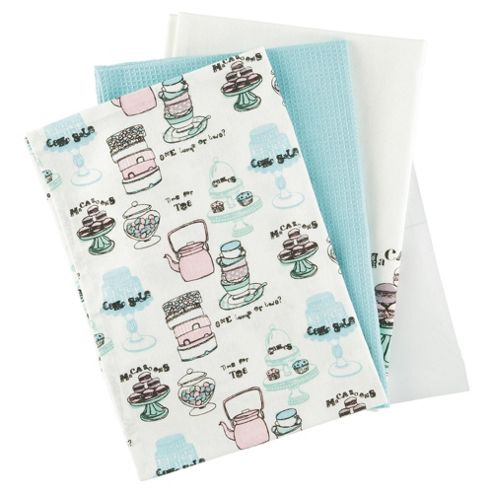 Tesco Sugared Almonds Set of 3 Tea Towels