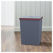Grey 15L Laundry Bin With Plum Trim