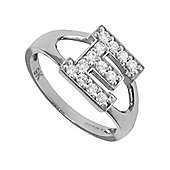 Silver Cubic Zirconia Identity ID Initial Signet Ring Letter E