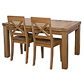 G&P Furniture Rectangular Extending Oak Dining Table - 76.2cm H x 140cm - 230cm W x 90cm D