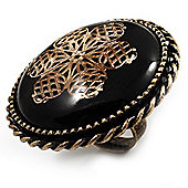 Oversized Vintage Floral Cocktail Ring (Bronze Tone)