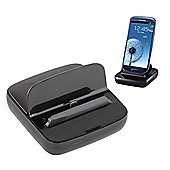 Samsung Original Universal Style Micro USB Desk Dock for Galaxy S3 - Chrome Blue
