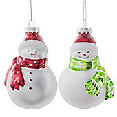 Set of Four Glass Snowman Christmas Baubles with Red & Green Scarves