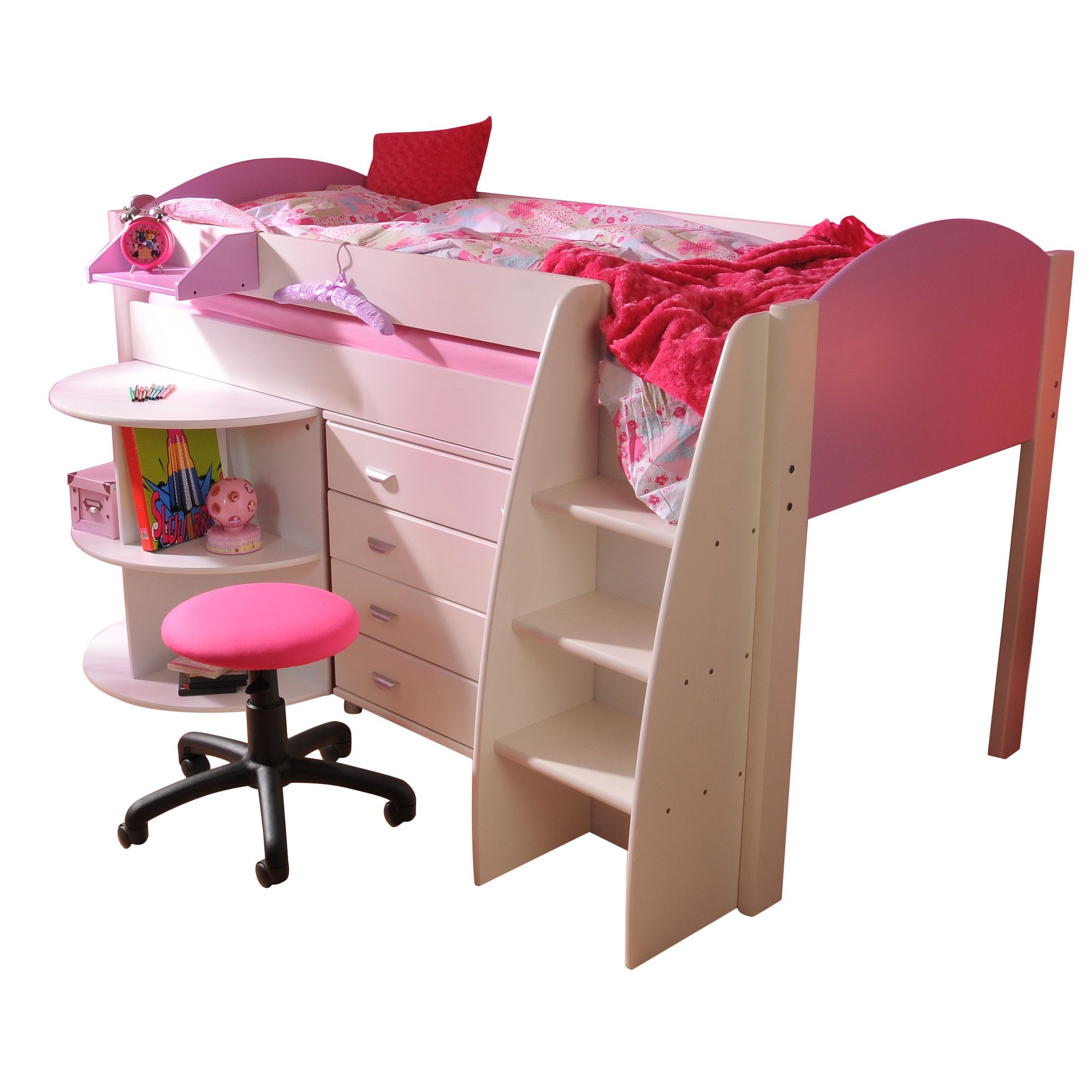 Stompa Rondo Mid Sleeper with 4 Drawer Chest and Extending Desk - Lilac - White at Tesco Direct
