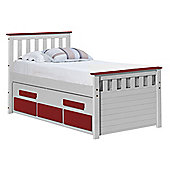 Captains Bergamo Guest Bed 3ft Whitewash With Red Details