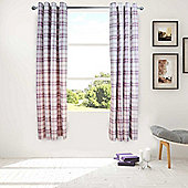 Catherine Lansfield Kelso Lined Eyelet Curtains 66x72 inches - Heather