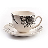 David Mason Design 2 Piece RHS Sunflower Cup and Saucer Set in White