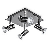Square Four Way Ceiling Spotlight in Black Chrome