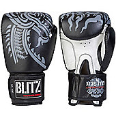 Fire Power Leather Thai Boxing Gloves - Black - Black