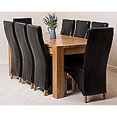 Kuba Chunky Solid Oak 180 cm Dining Table with 8 Lola Leather Dining Chairs (Black)