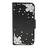 "Tortoiseâ""¢ Look Decorative Folio Case,with inside pocket & built in Stand,Jewelled Design, iPhone 5/5S. Black."