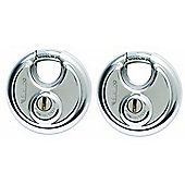 Sterling 70mm Stainless Steel Disc Padlock - 2 in a Pack