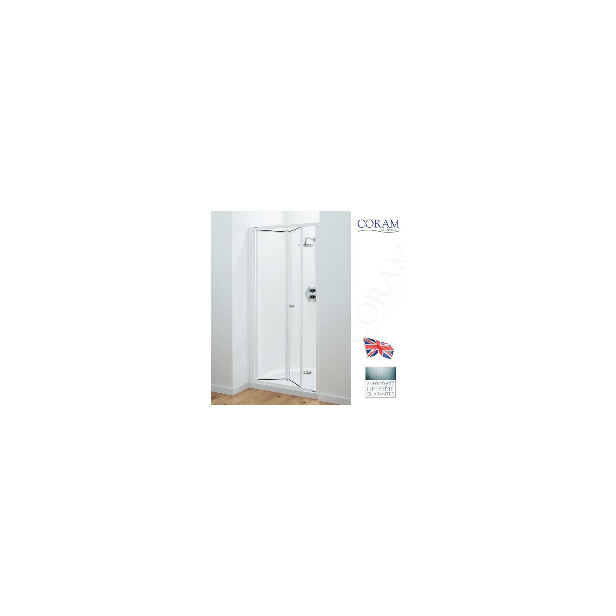 Coram Optima Bi-Fold Door ALCOVE Shower Enclosure, 760mm x 760mm, Low Profile Tray, 6mm Glass at Tescos Direct