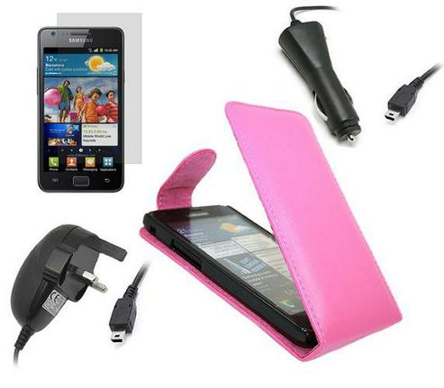 iTALKonline LCD Screen Protector, Car Charger, Mains Charger and Flip Case Pink - For  Samsung i9100 Galaxy S II S2