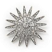 Clear Crystal 'Star' Brooch In Silver Plating - 4.5cm Diameter