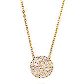 Gold Plated Sterling Silver Necklace with Pave Circle Pendant