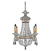 Savoy House Sherezade Four Light Chandelier in Silver Lace