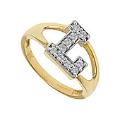 Jewelco London 9ct Gold Ladies' Identity ID Initial CZ Ring, Letter L - Size K