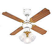 Hawker White & Polished Brass 36 inch Ceiling Fan with 3 Lights