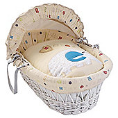 Clair de Lune ABC White Wicker Moses Basket