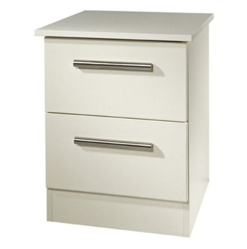Welcome Furniture Contrast 2 Drawer Bedside Table - Vanilla