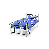 White & Dark Blue Soccer Single Metal Bed Frame - 3ft