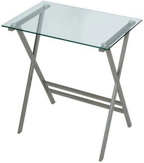 LEVV Clear Glass and Graphite Computer Desk