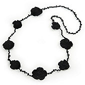 Long Black Floral Crochet, Glass Bead Necklace - 96cm Length