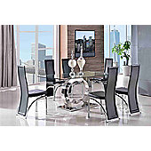 Channel Glass and Polished Stainless Steel 160 cm Dining Table with 6 Black Alisa Chairs