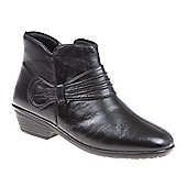 Pavers Leather Ankle Boot with Gathered Strap - Black