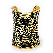 Wide Gold Plated Roman Etched Cuff - 95mm Height