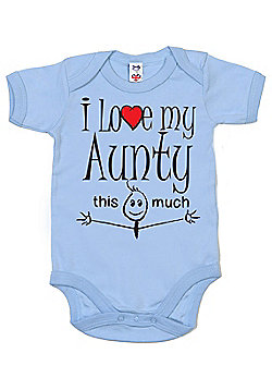 Dirty Fingers I love my Aunty this much Baby Bodysuit - Blue