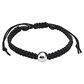 Black Cord Friendship Bracelet with Sterling Silver Ball