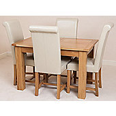 Hampton Solid Oak Extending 120 - 160 cm Dining Table with 4 Ivory Washington Leather Chairs