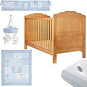 OBaby Beverley Cot Bed Blue Bundle (Country Pine)