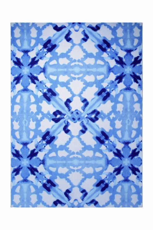 Esprit Abstract Blue / White Contemporary Rectangular Rug