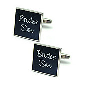Black Square Bride's Son Wedding Cufflinks