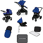 Ickle Bubba Stomp v3 AIO Travel System + Isofix Base, Mosquito net & Cup Holder - Blue (Black Chassis)