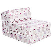 Sit N Sleep Kids Single Sofa Bed, Pink Cupcakes
