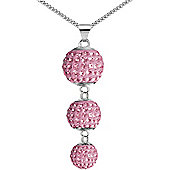 Jewelco London Sterling Silver Pink Crystal Disco Ball Drop Necklace - 18 inch Chain
