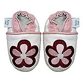 Dotty Fish Soft Leather Baby Shoe - White and Pink Embroidered Flower - White