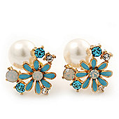 Light Blue Enamel Pearl Floral Stud Earrings In Gold Plating - 18mm Diameter