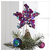 Tesco Sequin Tree Topper Star, Blue & Green