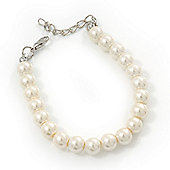 Classic Ivory Glass Pearl Bracelet In Silver Plating - 15cm Length/ 5cm Extension