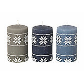 Parlane Set of Three Snowflake Pillar Candles - 12cm