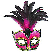 Pink Velvet Mask/ Tall Feather On Band