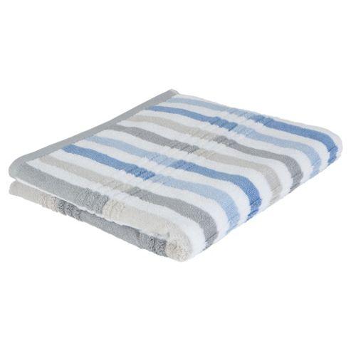 Tesco Multi Stripe Bath Towel Blue