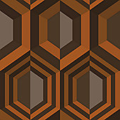 Muriva Hexagon Wallpaper - Orange