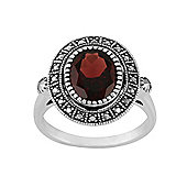 Gemondo Sterling Silver 2.50ct Garnet & Marcasite Antique Style Cluster Ring