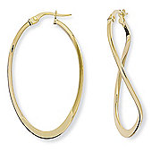 Jewelco London 9ct Yellow Gold - Polished Oval Earrings -